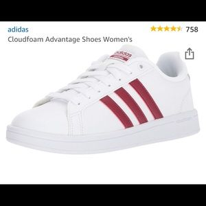 white and red adidas shoes❤️